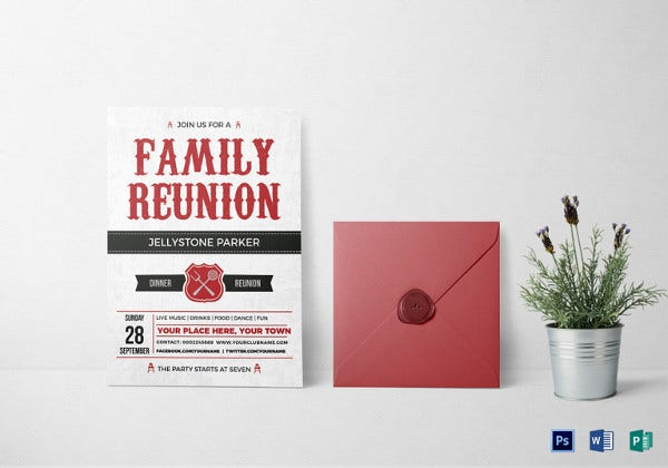 modern family reunion invitation card template