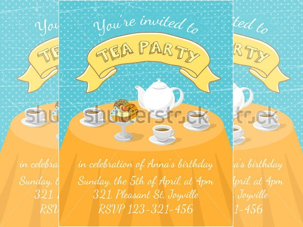 modern flat vector tea party invitation