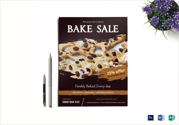 modern flyer template for bake sale1
