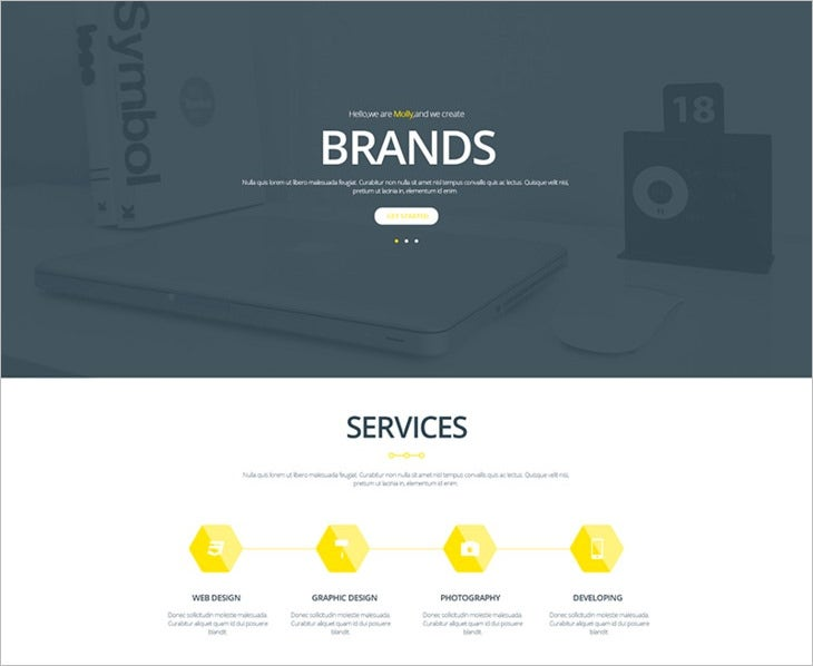 Free Psd Creative Single Webpage Template
