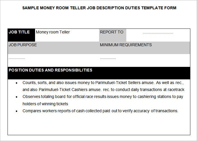 money room teller job description template