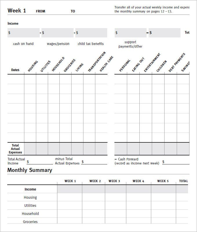 Budget Tracking Templates  Free Word Excel Pdf Documents
