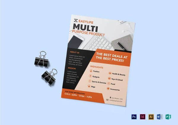 multi purpose product flyer template