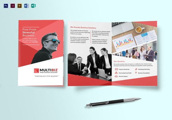multipurpose business bi fold brochure to edit