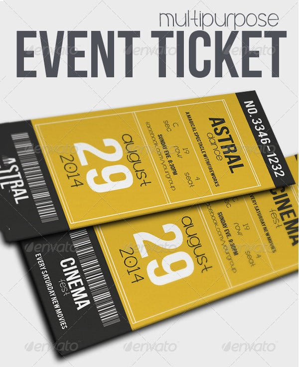 multipurpose event ticket invitation template download