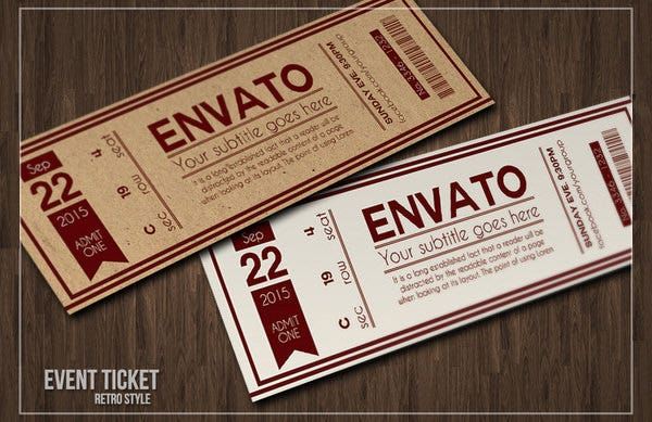 multipurpose retro ticket invitation template