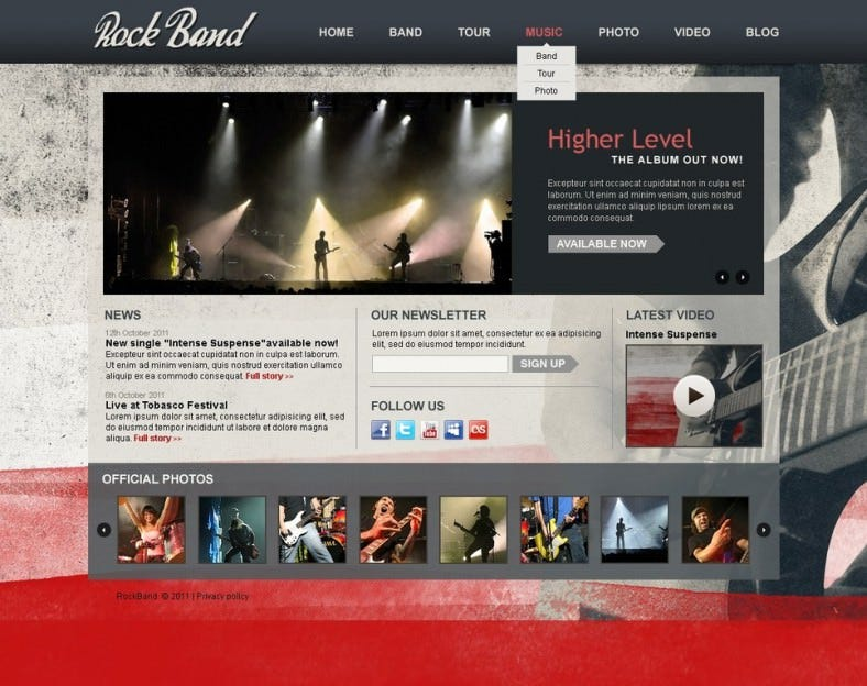 music band drupal template 788x624