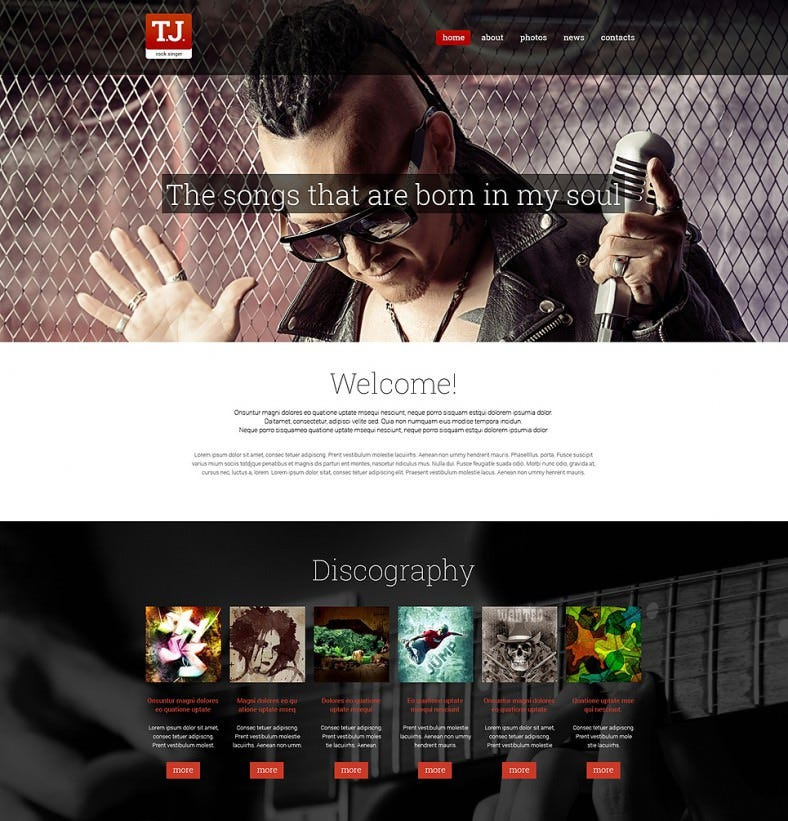 music fan page drupal template 788x821