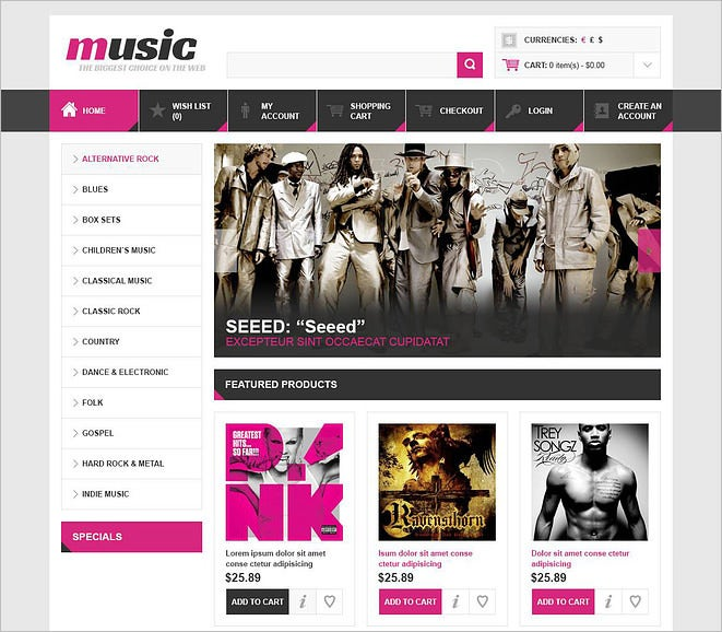 music store opencart template