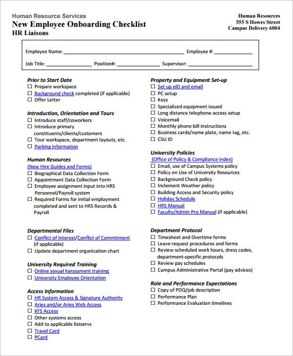 15+ HR Checklist Templates - Free Sample Example Format | Free ...