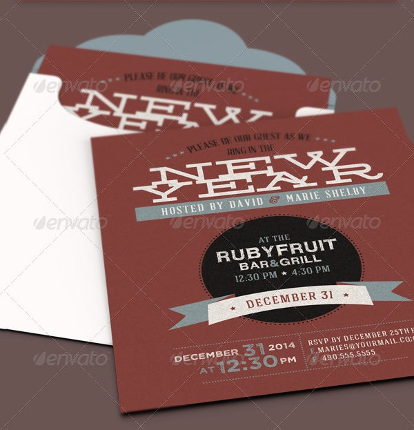 new year party invite card template