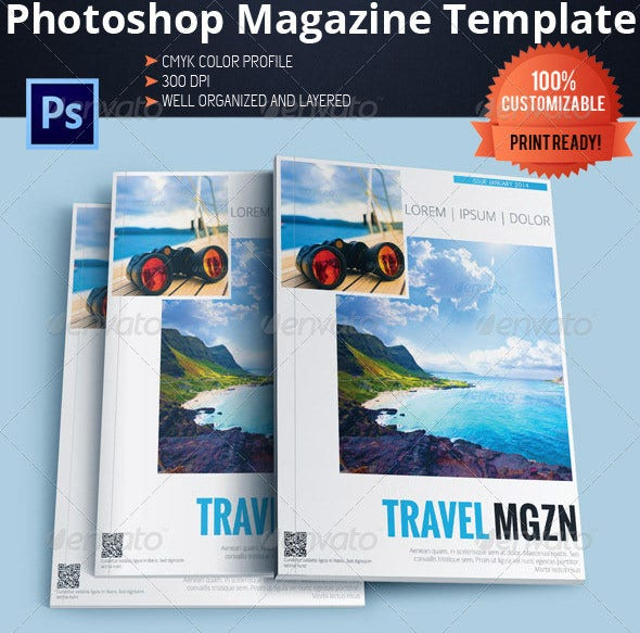 news travel magazine psd template