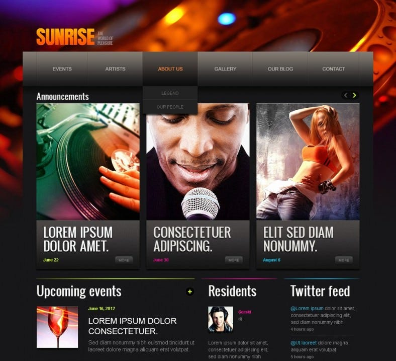 night club drupal template2 788x717