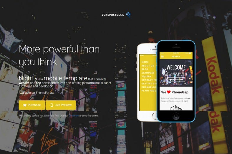 nightly a bold jquery mobile template 788x523