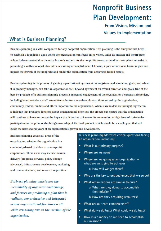 Free business plan template for non profit organization accmission