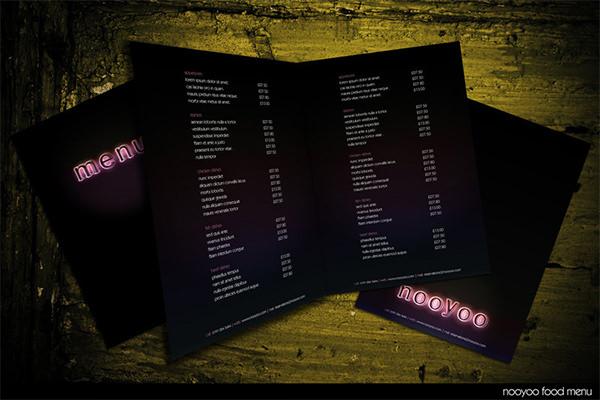 nooyoo food menu template