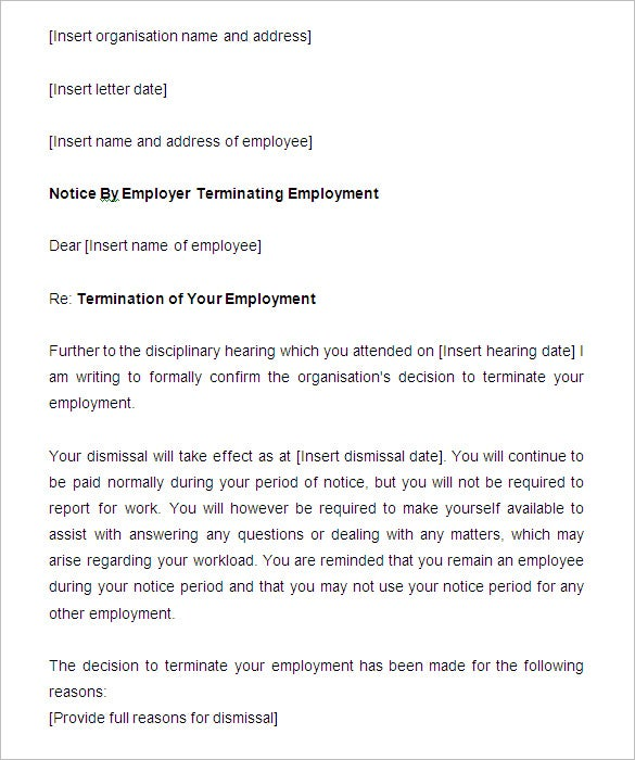 employment termination notice sample - Yolar.cinetonic.co