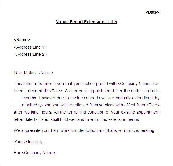 18 notice period letter templates free sample example format notice period extension letter format spiritdancerdesigns Image collections