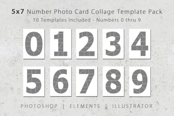 number photo card templates