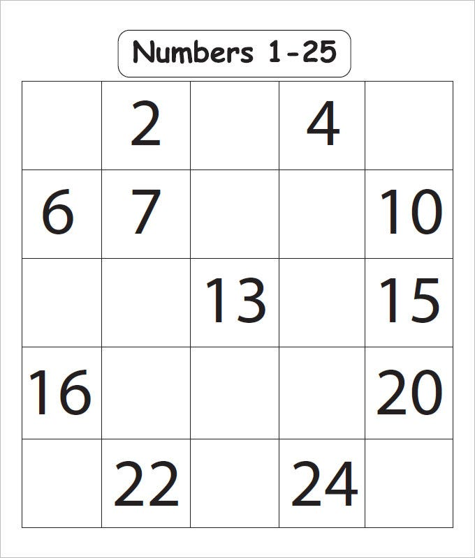 numbers 1 25 missing numbers worksheet template