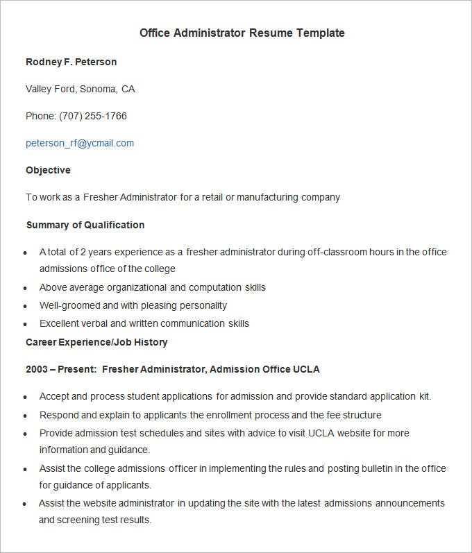 Administration Resume Template   Free Samples Examples Format