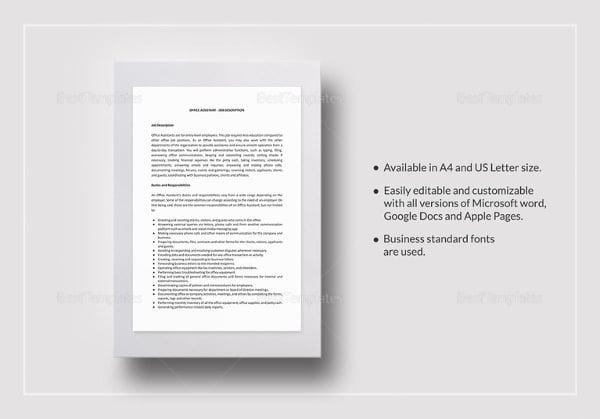 office assistant job description template