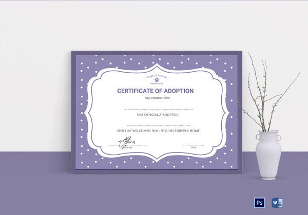 official certificate of adoption