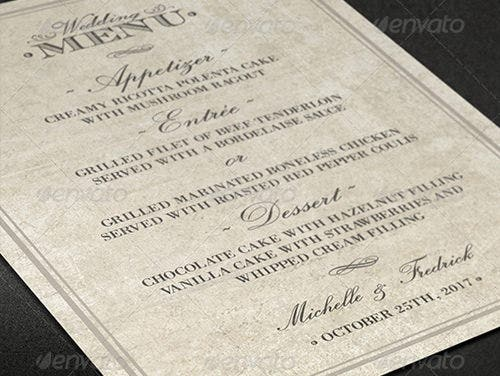 old style wedding menu template