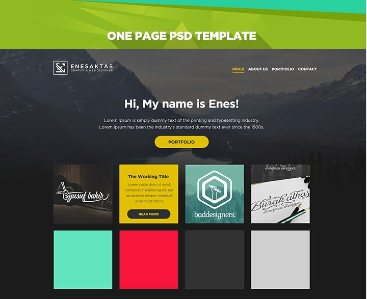 one page portfolio free psd website template