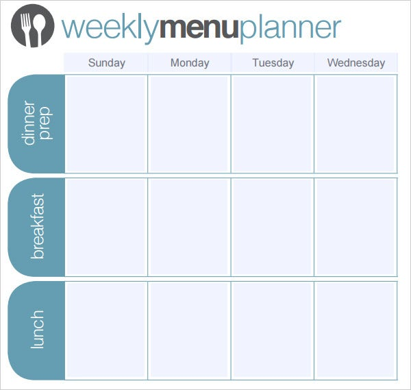 one week menu planner template
