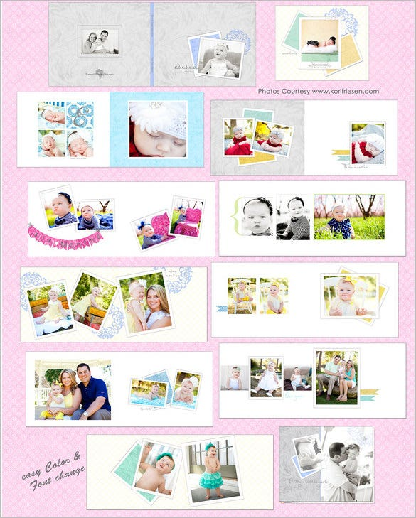 one year psd digital album templates