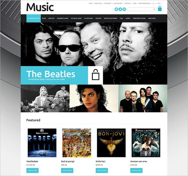online music sales opencart template 788x738