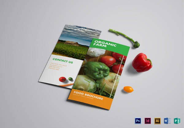 organic food menu bi fold template
