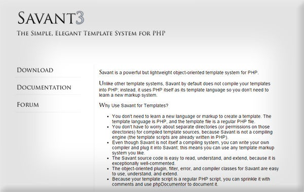 php savant template engine