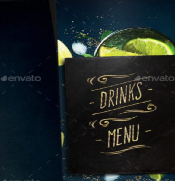 psd drink menu template
