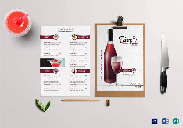 psd lounge drink menu template