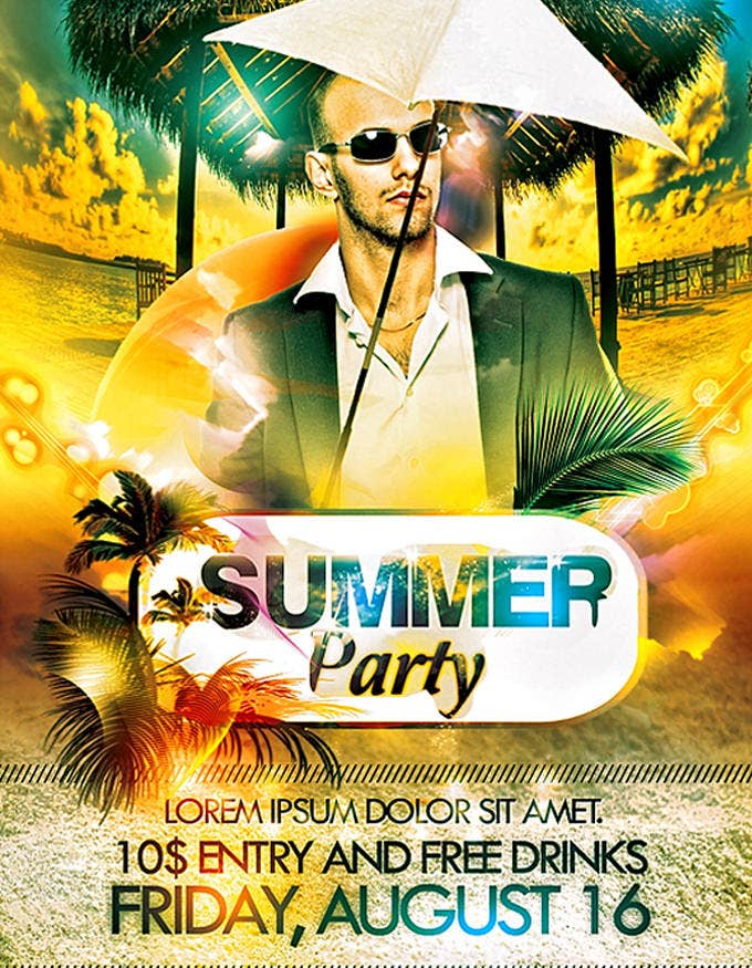 psd summer party simple flyer template1