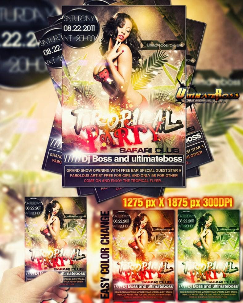 party tropical colourful flyer 788x985