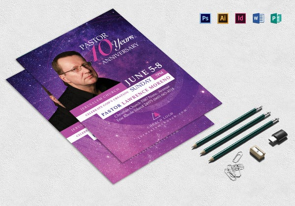 pastor anniversary event flyer template