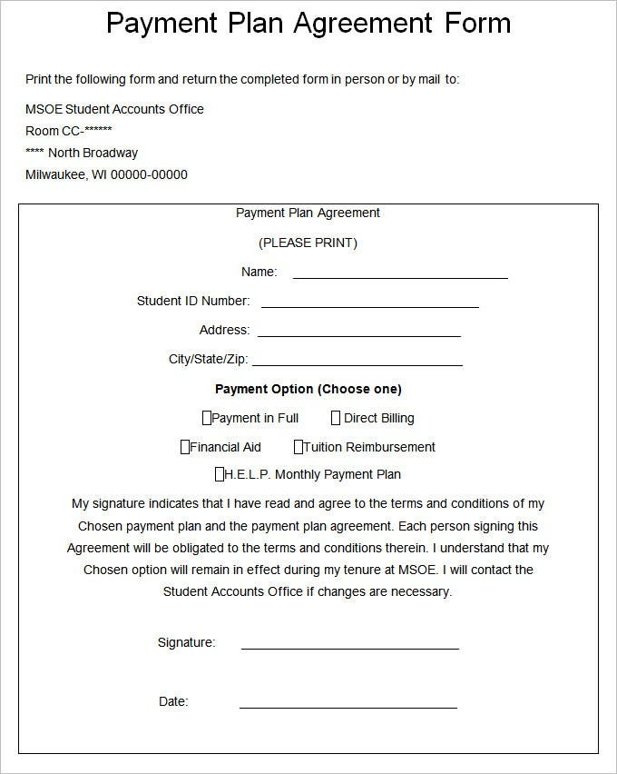 payment plan agreement template  u2013 21  free word  pdf