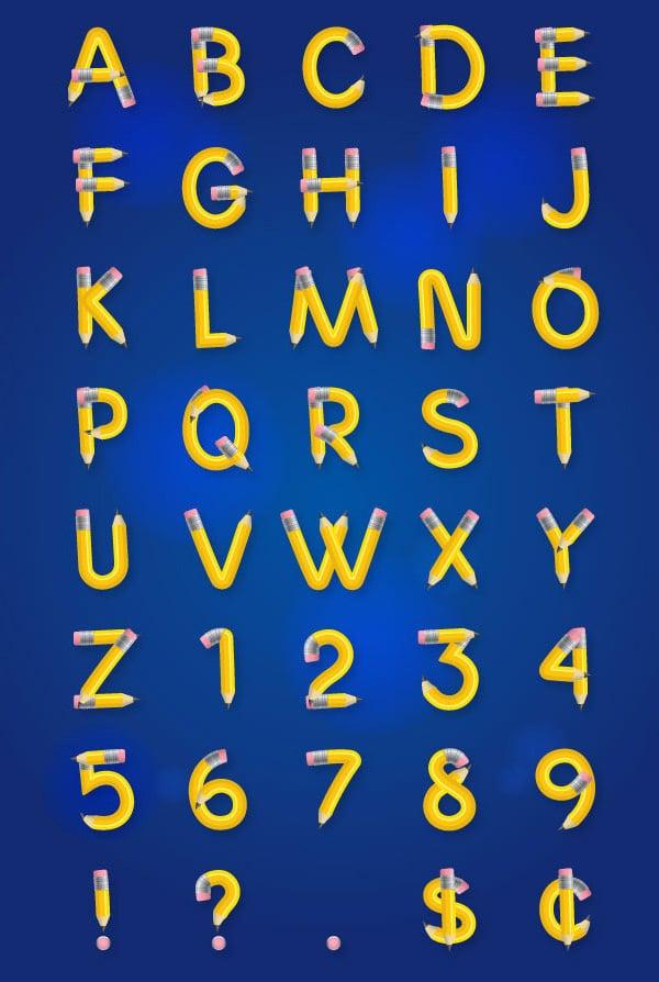 pencil large alphabet letters template