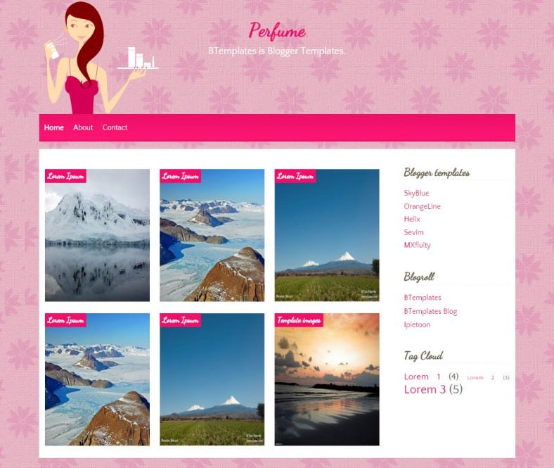 perfume cartoon blogger responsive template 788x665