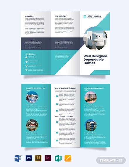 personal realestate agent agency tri fold brochure template