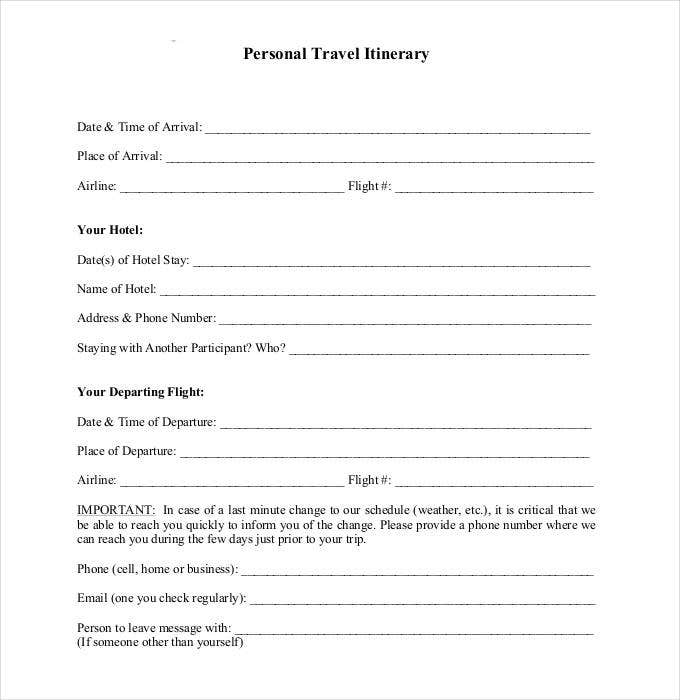 Trip Itinerary Template   Free Word Excel Documents Download