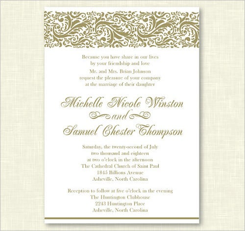 Personalized Wedding Formal Invitation Template  Free Event Invitation Templates