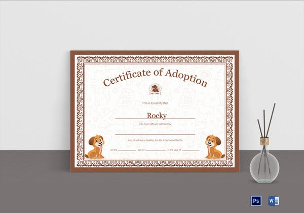 pet adoption certificate template1