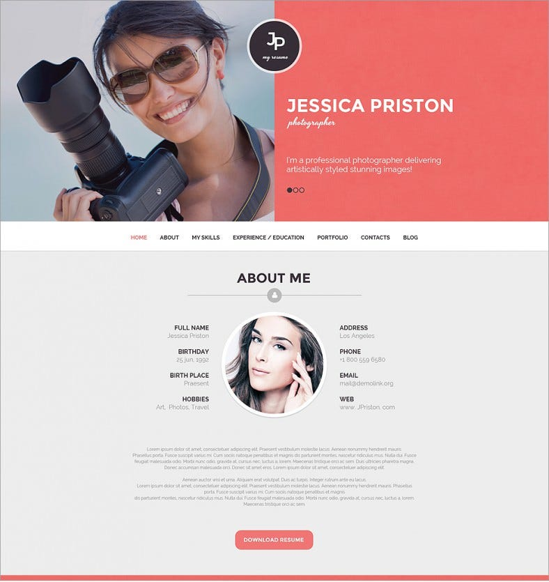 photographer resumes responsive wordpress theme 58 788x835