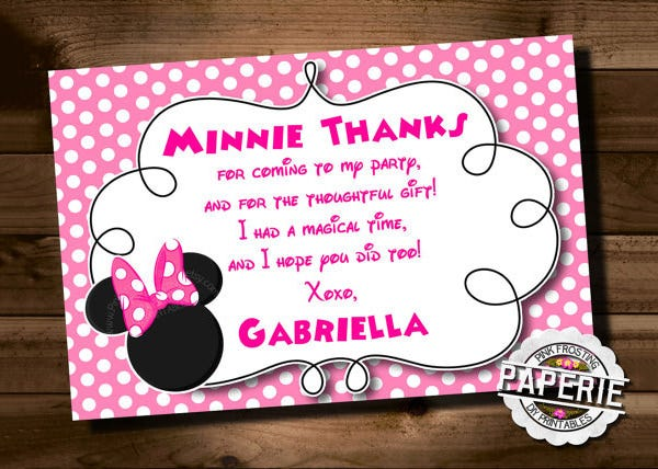 pink minnie mouse birthday thank you invitation template