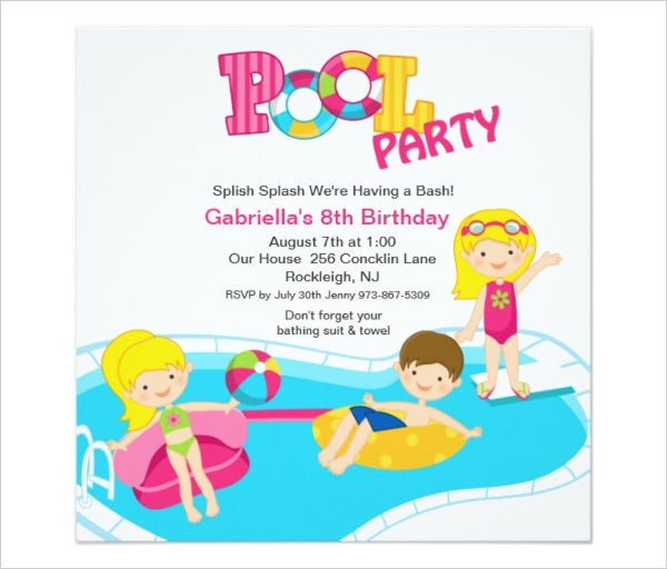 pink pool party girls birthday invitation