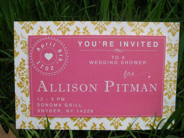 pink wedding shower invitation template